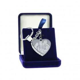 Porte-clefs en métal en forme de coeur personnalisé avec photo
