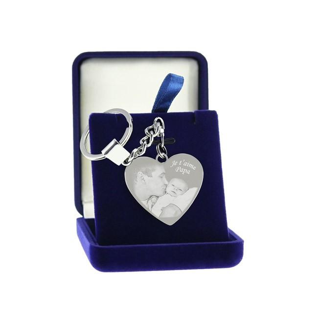Porte-clefs coeur en métal avec photo gravée - livré dans ecrin cadeau