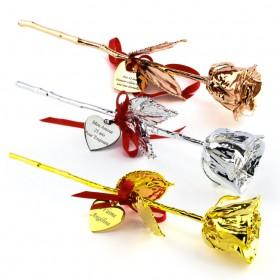 roses véritables recouvertes de métaux précieux Or, Argent, Or rose