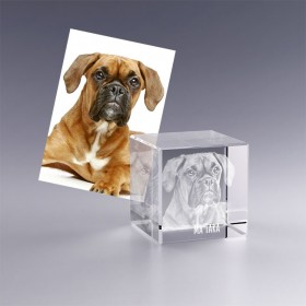 Cadeau original - cube en verre avec photo 3D