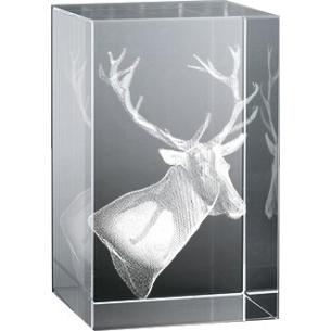 Bloc en verre gravure 3D Cerf