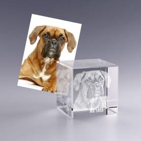 cadeau personnalisé - cube en verre avec photo 3D