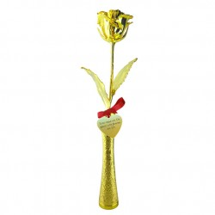 Rose en or dans soliflore doré