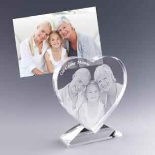 Petit coeur avec photo gravée au laser dans le verre