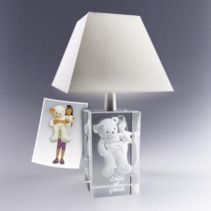 Lampe en verre avec photo gravée en 3D