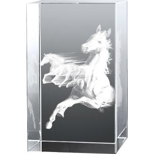 Bloc en verre gravure 3D Pur Sang