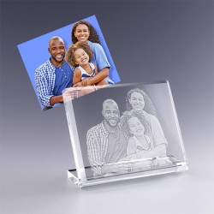 cadeau en verre avec photo gravée