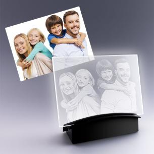 cadeau plaque photo avec socle lumineux