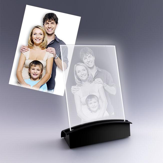 plaque photo avec socle lumineux