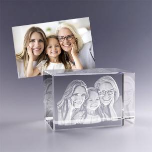 Cadeau idéal fête des mères - bloc en verre avec photo gravée en 3D
