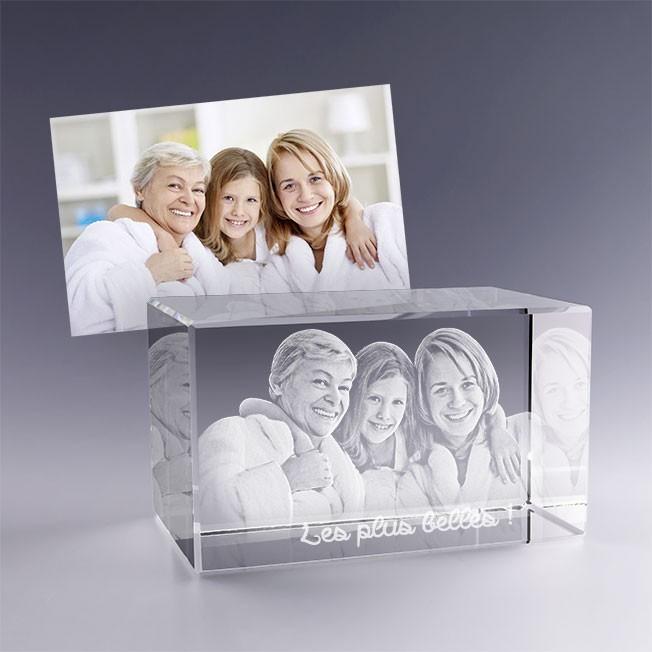 Cadeau idéal fête des mères - bloc en verre personnalisé avec photo 3D
