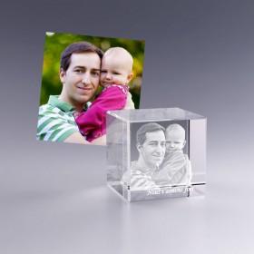 Cadeau photo personnalisé - Cube en verre 5 cm