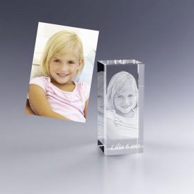 Cadeau personnalisé - bloc en verre avec photo 3D