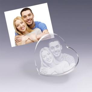Coeur en verre gravé avec la photo de votre choix - Cadeau idéal pour les amoureux
