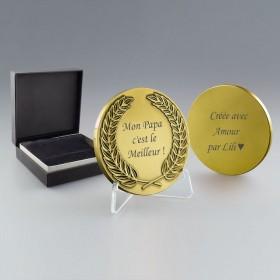 Médaille Métal doré à personnaliser recto verso
