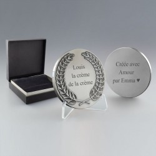 Médaille Lauriers en Métal à personnaliser coloris argent