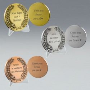 Médaille Lauriers en Métal à Graver 3 coloris , boite cadeau offerte
