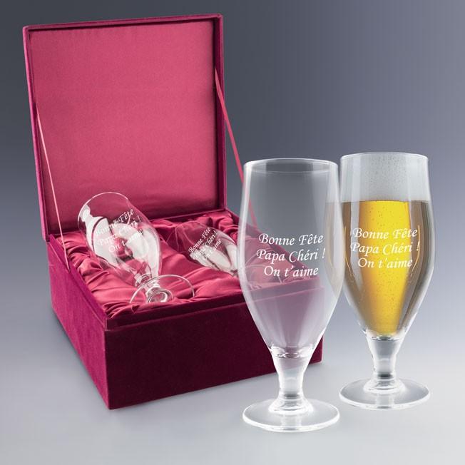 Coffret de verres à bière personnalisable, super idée cadeau fête des pères
