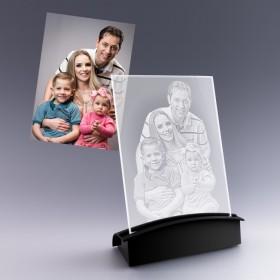 Grande Plaque Photo Verticale en Verre Gravure 2D + Socle Lumineux