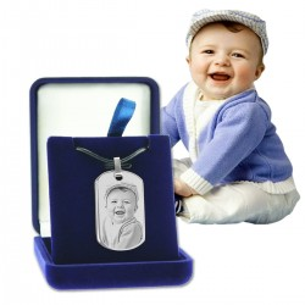 pendentif plaque avec photo dans écrin cadeau