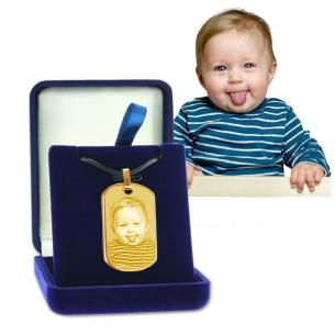 pendentif plaque dore grave avec photo  dans écrin cadeau