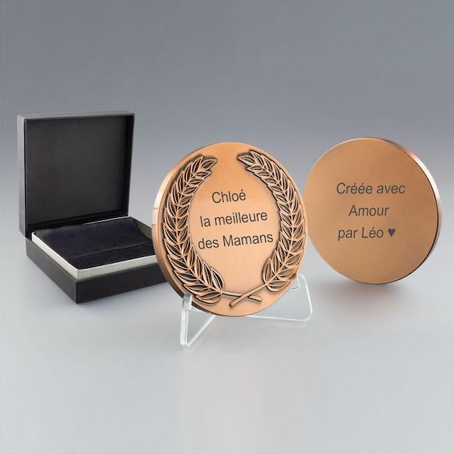 Médaille Lauriers en Métal à Graver coloris bronze