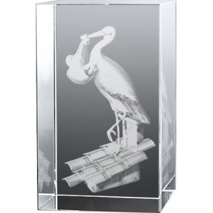 Bloc en verre gravure 3D Cigogne