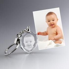 Porte-clefs en verre avec photo gravée laser