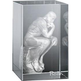 Bloc en verre gravure 3D Penseur de Rodin