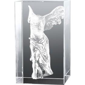 Bloc verre gravure 3D La Victoire de Samothrace