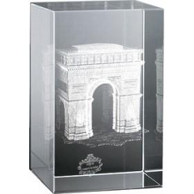 Bloc en verre gravure 3D Arc de Triomphe