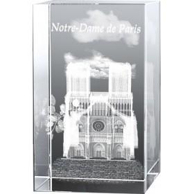 Bloc en verre gravure 3D Notre Dame de Paris