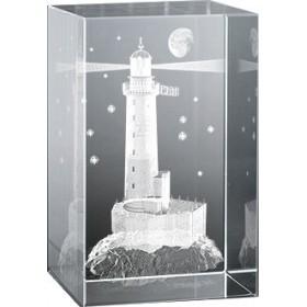 Bloc en verre gravure 3D Phare Armen