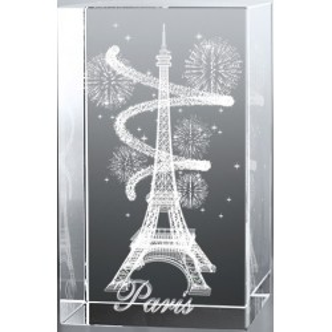 Bloc en verre gravure 3D Tour Eiffel Spirale