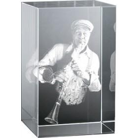 Bloc en verre gravure 3D Clarinettiste