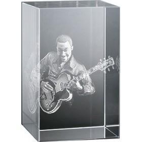 Bloc en verre gravure 3D Guitariste