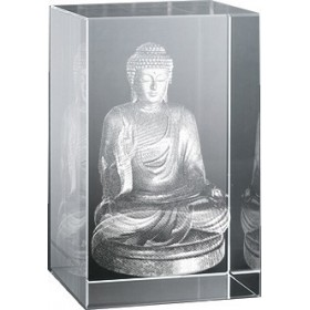 Bloc en verre gravure 3D Bouddha