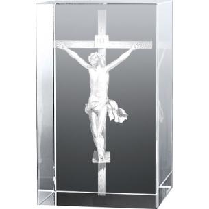 Bloc Vertical 3D Jésus sur la Croix, Gravée en 3D dans un verre de ...