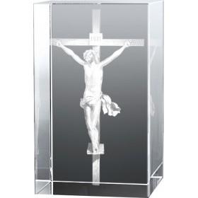 Bloc en verre gravure 3D Jésus sur la Croix