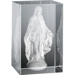 Bloc en verre gravure 3D Vierge Bras Ouverts