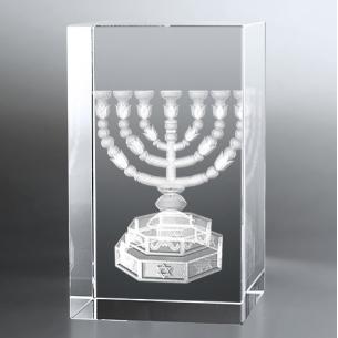 Bloc Vertical 3D Menorah pour  Gravée en 3D dans un verre de grande...