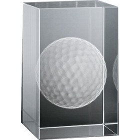 Bloc en verre gravure 3D Balle de Golf