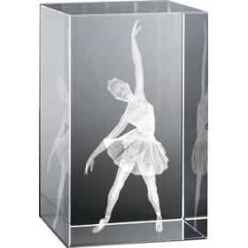 Bloc en verre gravure 3D Ballerine