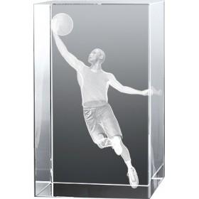Bloc en verre gravure 3D Basketteur