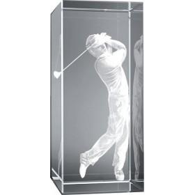 Bloc en verre gravure 3D Golfeur