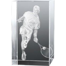 Bloc en verre gravure 3D Tennisman
