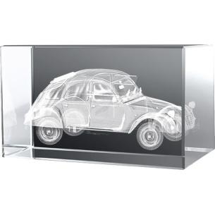 Bloc en verre gravure 3D 2CV