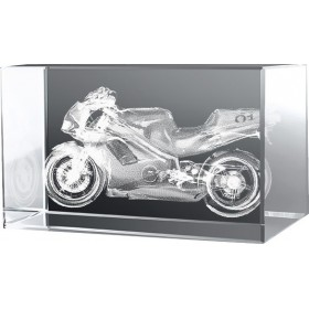 Bloc en verre gravure 3D Moto Honda