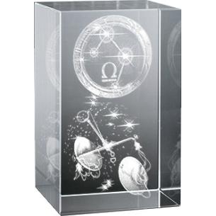 Bloc en verre gravure 3D Balance (Astro)