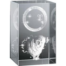 Bloc en verre gravure 3D Bélier (Astro)